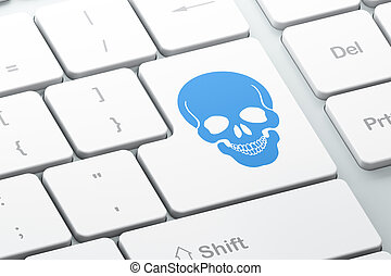 Healthcare concept: Scull on computer keyboard background