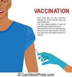 Healthcare concept. Smiling man getting vaccine. Vector...
