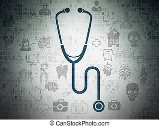 Healthcare concept: Stethoscope on Digital Data Paper background
