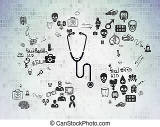 Healthcare concept: Stethoscope on Digital Paper background