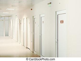 healthcare, corridor., facility., moderne, européen, vide, hôpital, hospital.