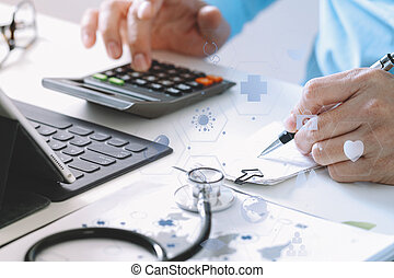 Healthcare costs and fees concept.Hand of smart doctor used...