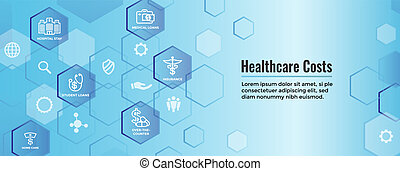 Healthcare costs Icon Set Web Header Banner - expenses showing concept of expensive health care