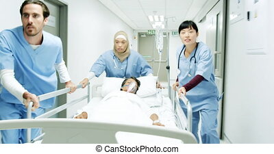 healthcare, couloir, urgence, bas, urgently, trois, hôpital...
