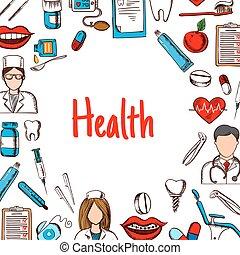 healthcare, croquis, style, bannière, art dentaire