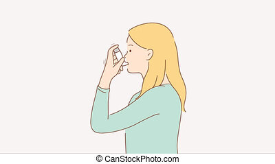 Healthcare, disease, problem concept. 3d graphic video portrait of sick ill asthmatic woman character uses inhaler during asthma symptom for lungs breath. Troubles with breathing motion design footage