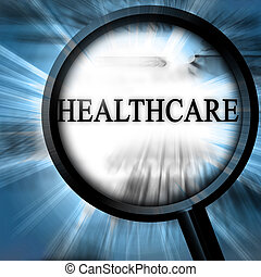 healthcare on a blue background with a magnifier