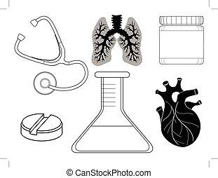 healthcare, ensemble, apparenté, icônes
