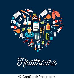 Healthcare equipment icons shaped as heart