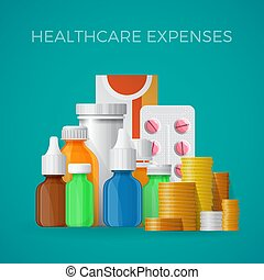 Healthcare expenses concept in flat style