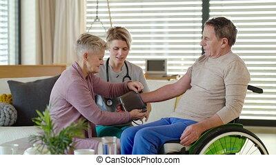 healthcare, fauteuil roulant, home., patient, personne agee...