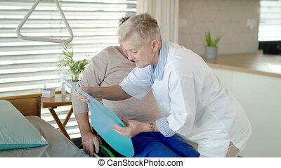 healthcare, fauteuil roulant, patient, hospital., portion, ...