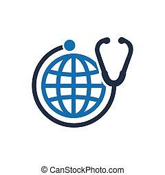 healthcare, global, icône