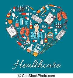 Healthcare heart, medicine vector symbol