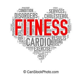 healthcare, herz, wordcloud, begriff, fitness