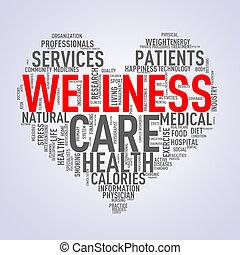 healthcare, herz, wordcloud, begriff, wohlfühlen