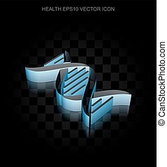 Healthcare icon: Blue 3d DNA made of paper, transparent shadow, EPS 10 vector.