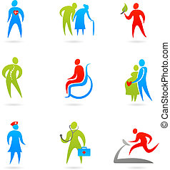 Healthcare icon set - Collection of colourful healthcare...