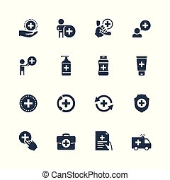 Healthcare icon set in glyph style