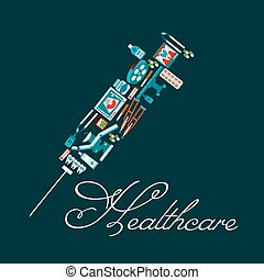 Healthcare icons in a shape of syringe
