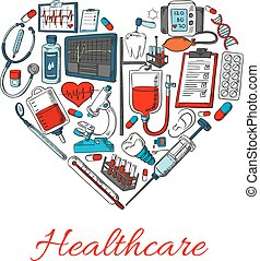 Healthcare icons in shape of heart with vector elements of...