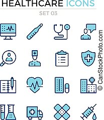 Healthcare icons. Vector line icons set. Premium quality. Simple thin line design. Modern outline symbols, pictograms