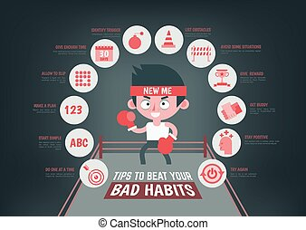 infographic about tips to change your bad habit - healthcare...