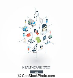 Healthcare, integrated 3d web icons. Digital network...
