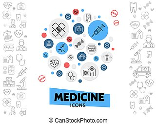 Healthcare Line Icons Composition