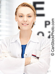 female ophthalmologist with eye chart - healthcare, medicine...