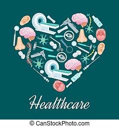 Healthcare medicine heart vector poster - Heart symbol or...