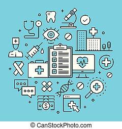 Healthcare, medicine, medical concepts line art. Modern graphics elements, outline symbols, thin line icons set for websites, web banners, mobile apps, infographics. Vector illustration