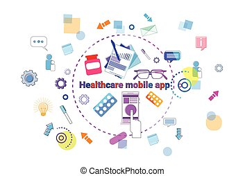 Healthcare Mobile App Banner Online Medical Help Therapy, Medicine Treatment Concept