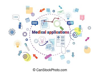 Healthcare Mobile App Banner Online Medical Therapy Applications, Medicine Treatment Concept
