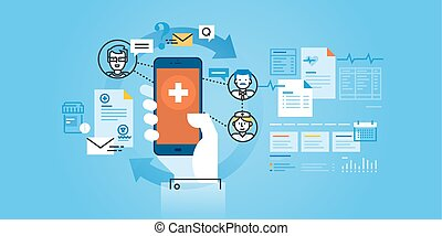 Flat line design website banner of healthcare mobile app. Modern vector illustration for web design, marketing and print material.