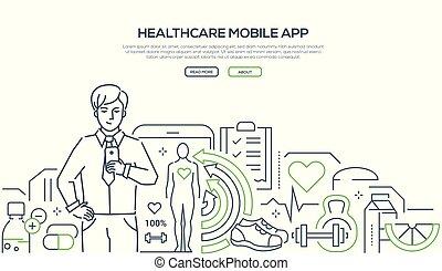 Healthcare mobile app - modern line design style web banner