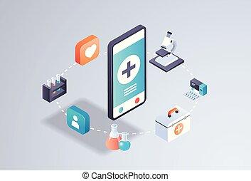 healthcare mobile application online medical laboratory concept smartphone screen medicine tests app interface digital technology 3d isometric horizontal flat