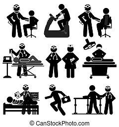 healthcare, monde médical, ensemble, icône