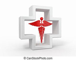 healthcare, og, medicinsk, symbol., caduseus, ind, cross.