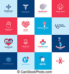 healthcare, orvosi, állhatatos, ikonok