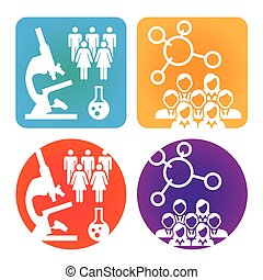 healthcare, orvosi, térképezés, emberek, vagy, tudományos, felfedezés, ikonok, betegség