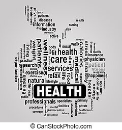 healthcare, pomme, concept, santé, wordcloud