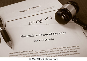 Healthcare Power of Attorney, Living Will documents with...