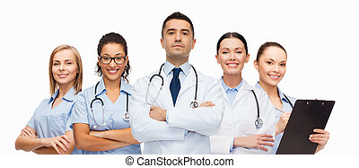 group of medics with stethoscopes