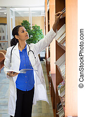 Healthcare professional reading