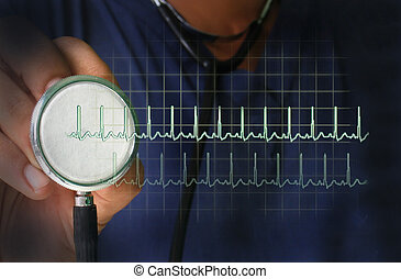 Healthcare - Pulse - Stethoscope with heart beat