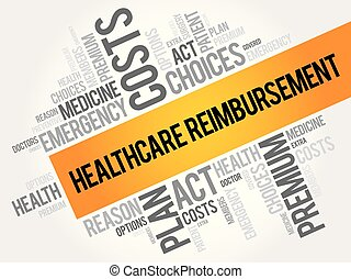 Healthcare Reimbursement word cloud collage, health concept...