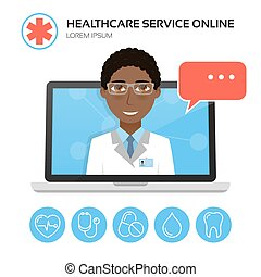 Healthcare service online. Medical consultation concept.