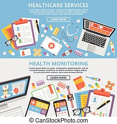 Healthcare services flat concepts