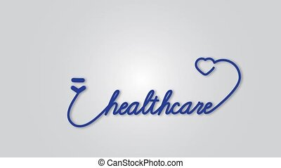 Healthcare - stethoscope with heart icon. Healthcare medical concept motion graphic footage